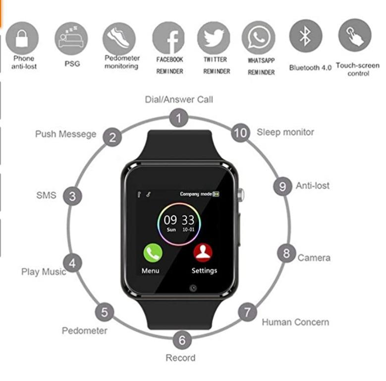 NoCheapNoSell. Smart Watch Touchscreen Bluetooth Smartwatch Wrist Watch Sports Fitness Tracker with SIM SD Card Slot Camera Pedometer Compatible iPhone iOS Samsung Android for Men Women Kids (Black)