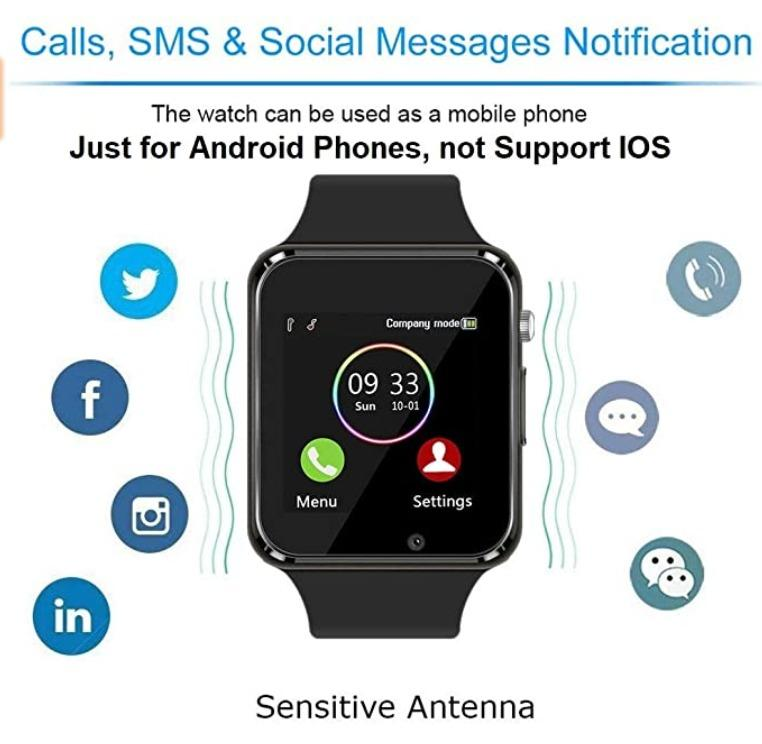 Smart Watch Touchscreen Bluetooth Smartwatch Wrist Watch Sports Fitness Tracker with SIM SD Card Slot Camera Pedometer Compatible iPhone iOS Samsung Android for Men Women Kids (Black)