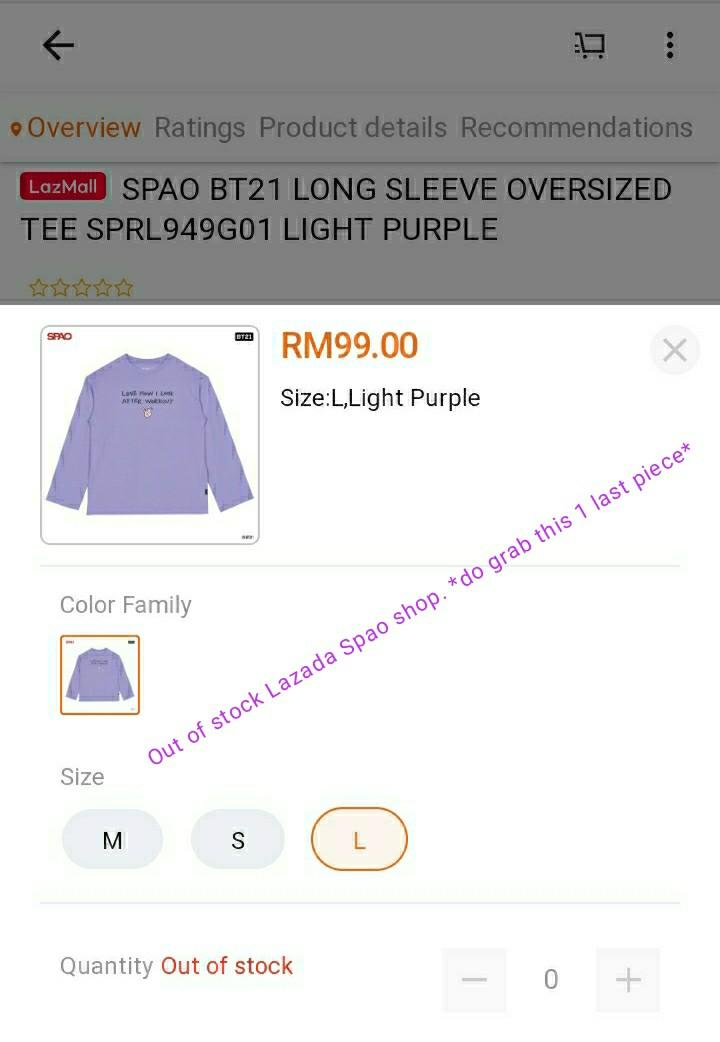 SPAO BTS Free Shipping BT21 Cooky Long Sleeve T Size L