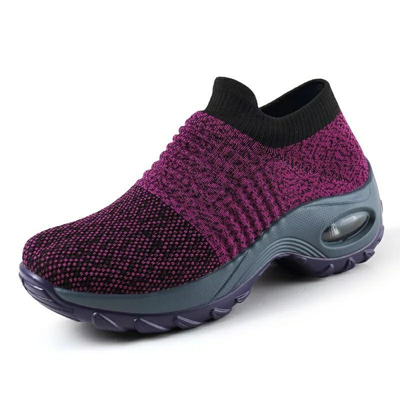 Spring Women Sneakers Shoes Flat Slip on Platform Sneakers for Women Black Breathable Mesh Sock