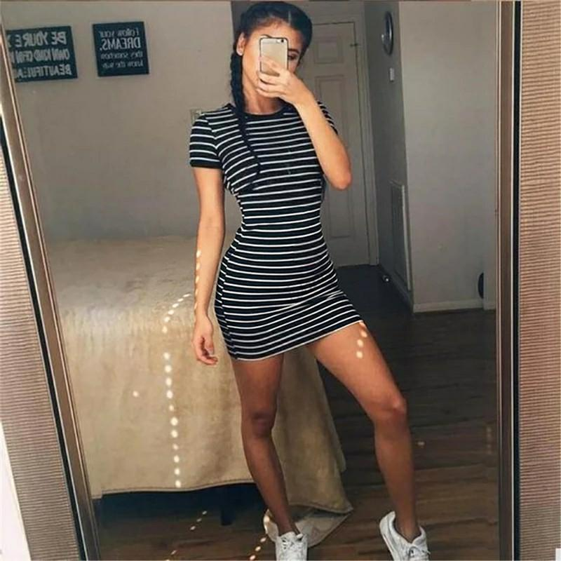 Summer Casual Striped O-neck Short-sleeved Dress Black And White Striped Dresses Casual Elegant Sheath Slim Dress