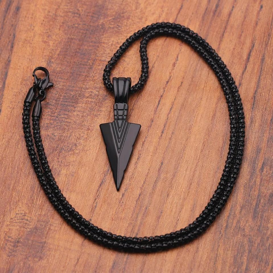 Women | Men  Design Matte Black Long Necklace with Arrow Pendant Jewelry Chain Unisex