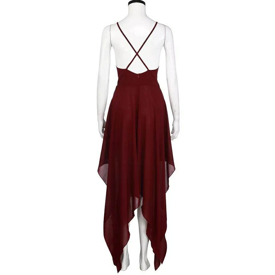 Women's Sling Long Dress Women V-neck Sleeveless Beach Maxi Dress Casual Summer Dress