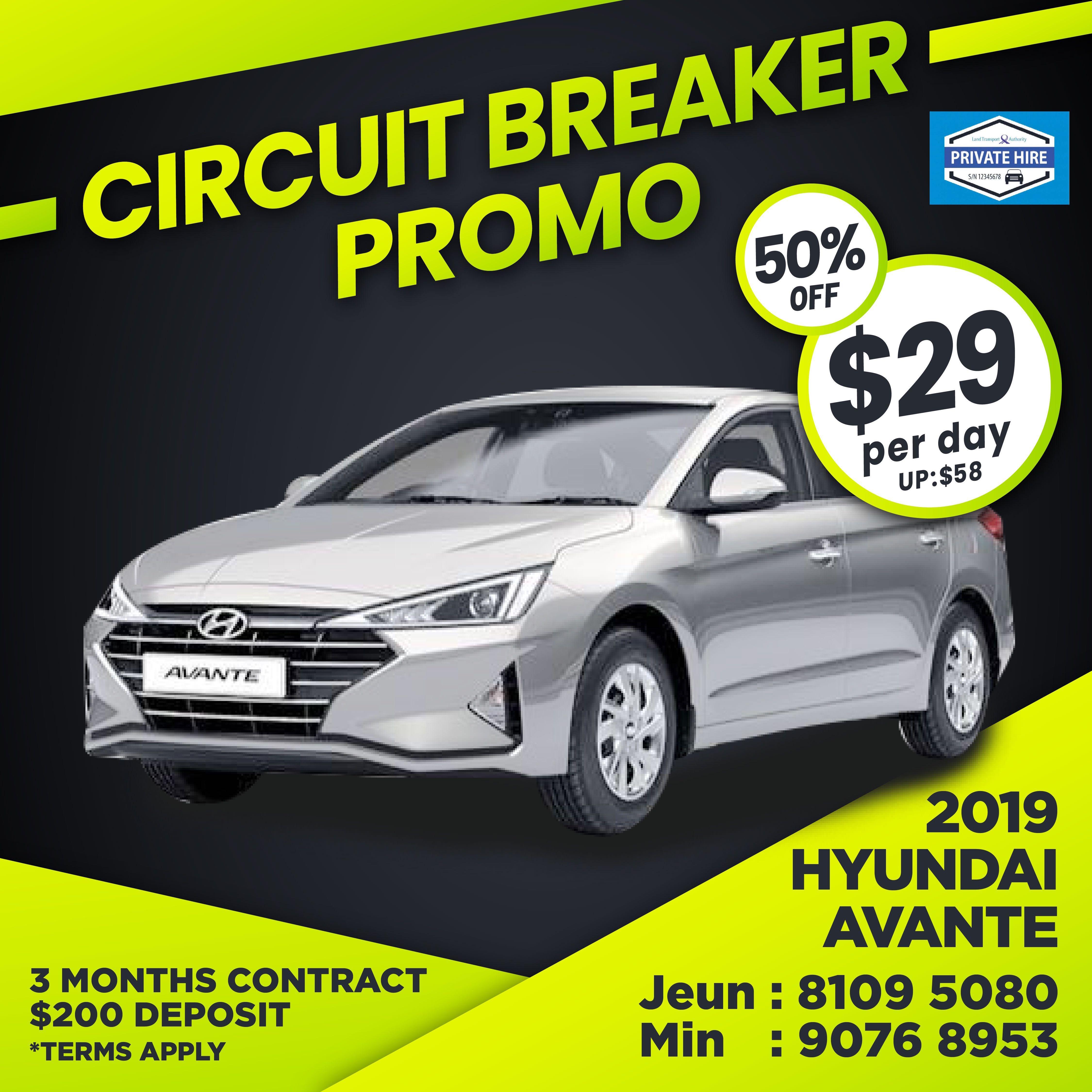 50% OFF - 2019 Hyundai Avante                          ( Grab / PHV Car Rental )