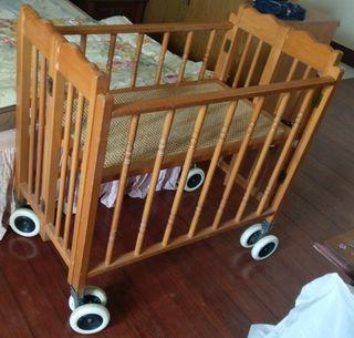 木頭 可調整 折疊 娃娃床嬰兒床 遊戲玩具 摺疊