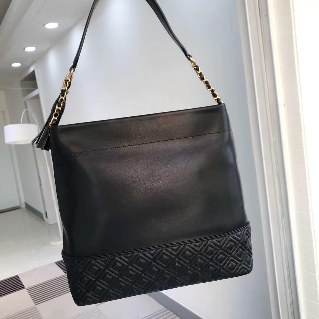 Authentic Tory Burch Fleming sling calf leather bag soft leather black Fleming
