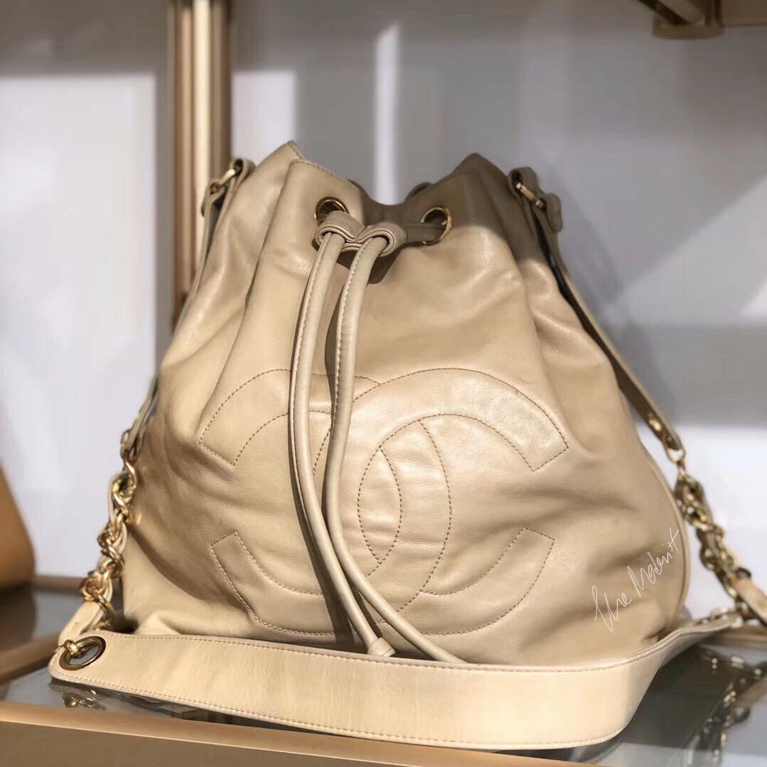 Authentic Vintage Chanel Beige (Milk Tea) Lambskin Bucket Bag Gold Hardware