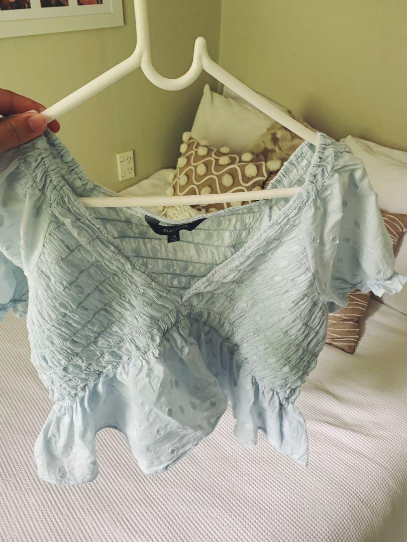Glassons blue top, size 10, worn once