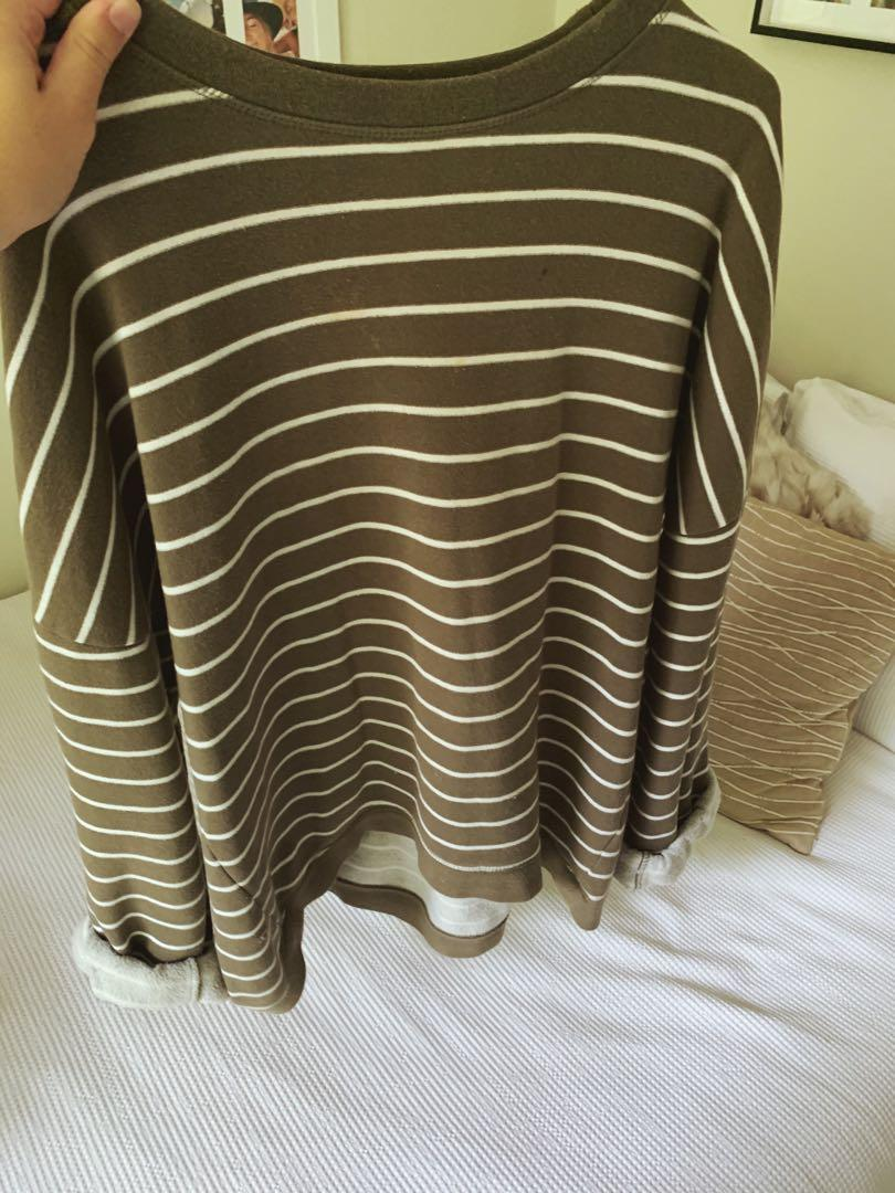 Glassons striped green jumper, size small, small hole bottom of jumper