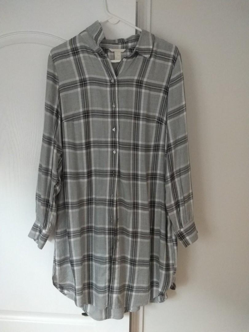 HM grey oversized long flannel brand new never worn