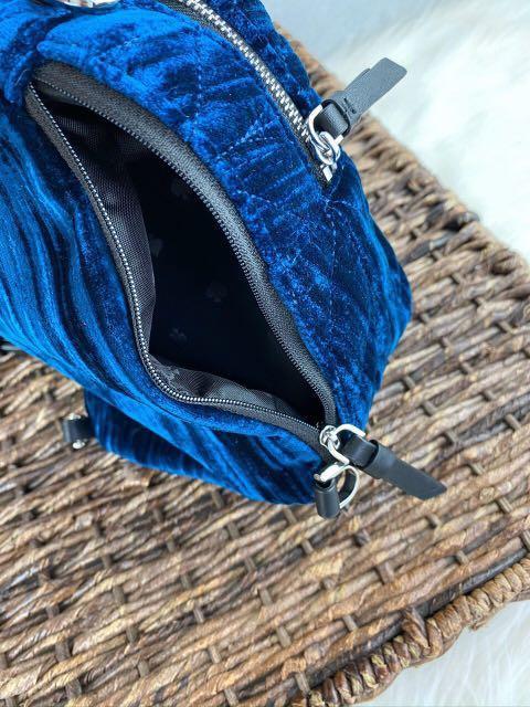 Kate Spade Briar Lane Quilted Crushed Velvet Mini Convert Backpack in Nightcap