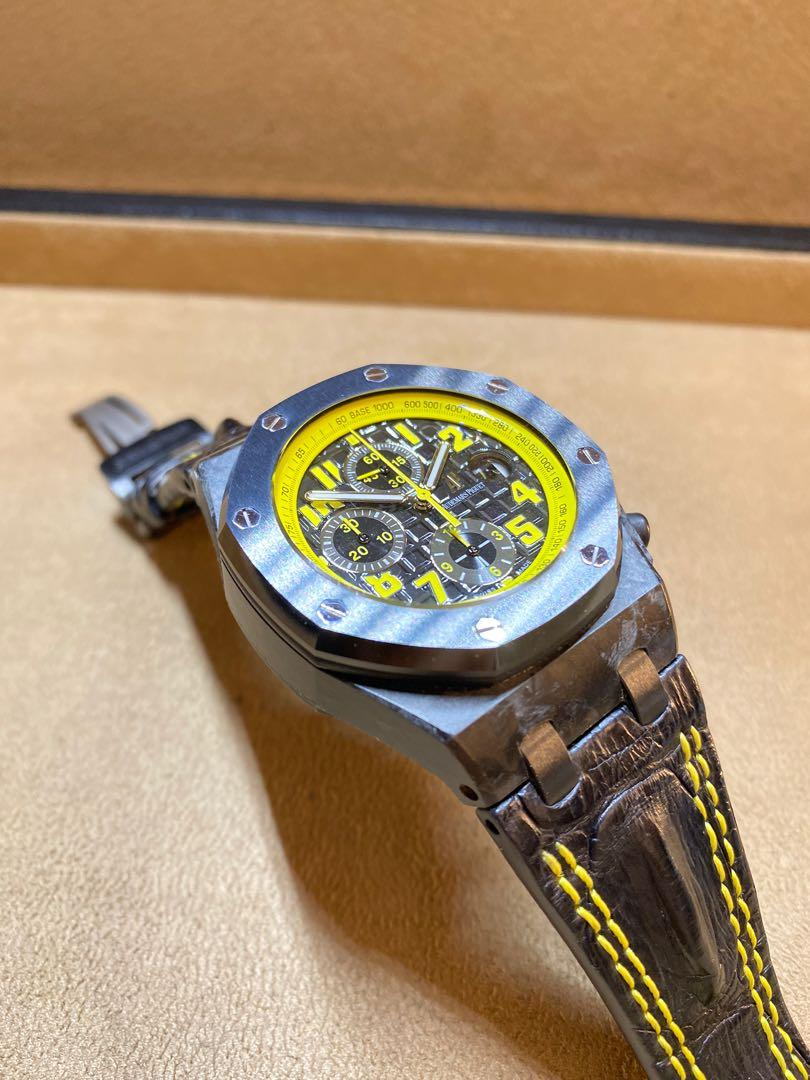 "Pre Owned Audemars Piguet Royal Oak Offshore 26176FO ""Bumblebee"" Black Dial Automatic Forged Carbon Casing Leather"