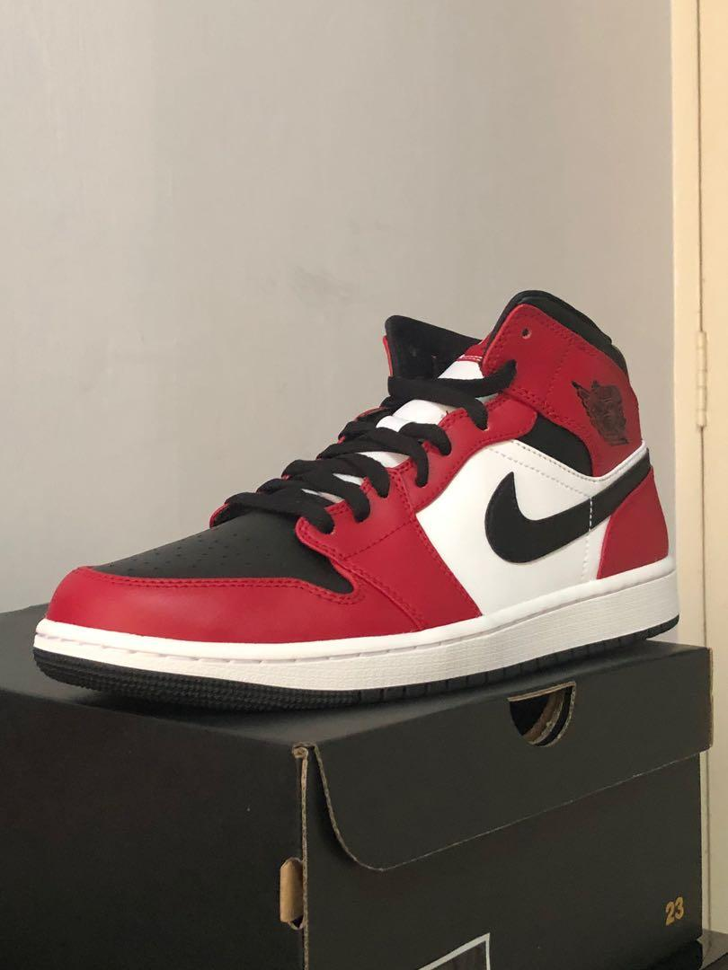 Air Jordan 1 Mid Chicago Bred Toe Men S Fashion Footwear