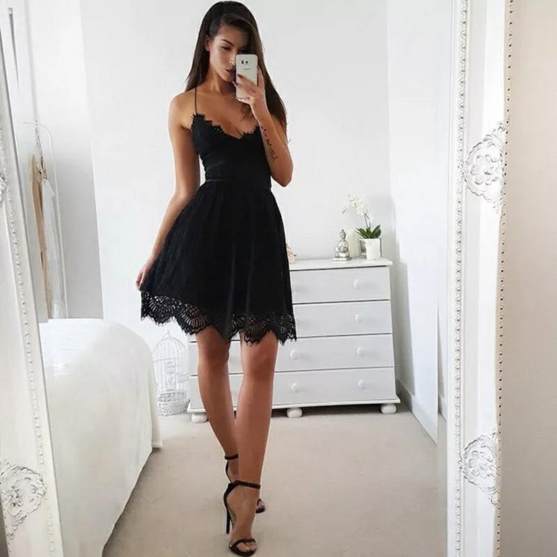 Black White Summer Party Dress Sexy Deep V Neck Backless Lace Short Dress Women Casual Bandage Spaghetti Strap Dress