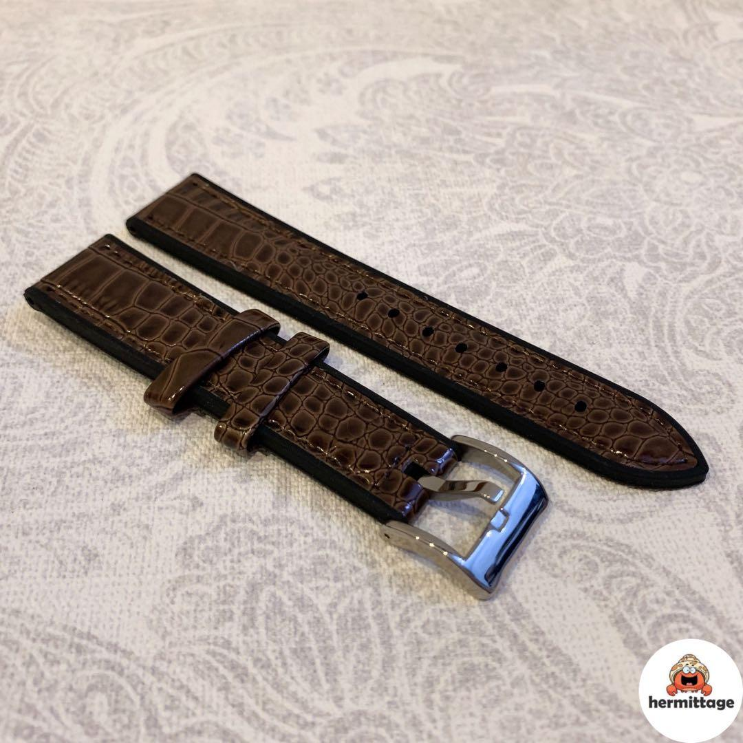 BRAND NEW 20MM RUBBER/ LEATHER WATCH STRAP, GLOSSY BROWN (suitable for rolex tudor omega seiko cartier hamilton etc)