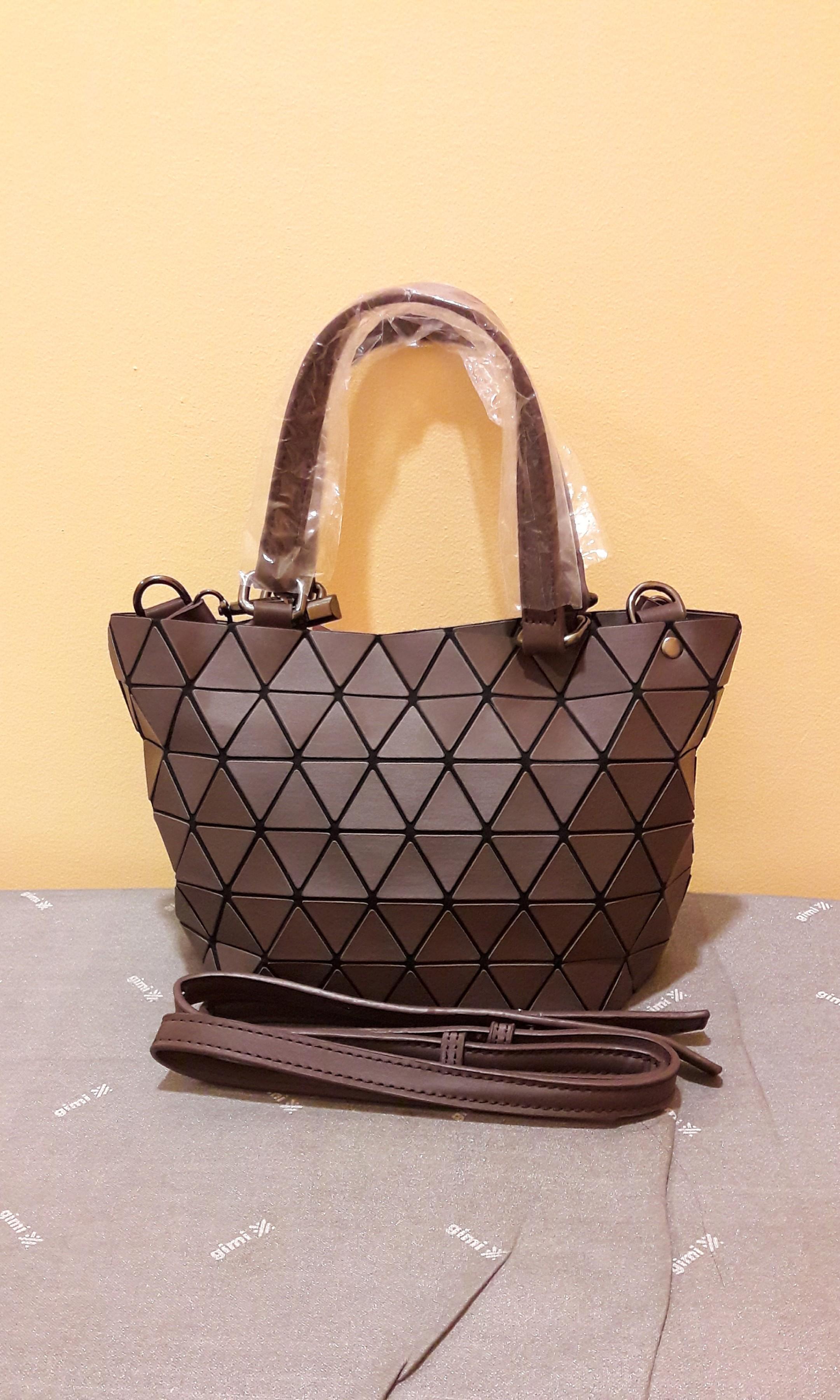 BRAND NEW Small Matte Brown Issey Miyake BAOBAO Inspired Geometric Rhombic 2-way Sling Bag / Shoulder Bag / Tote Bag