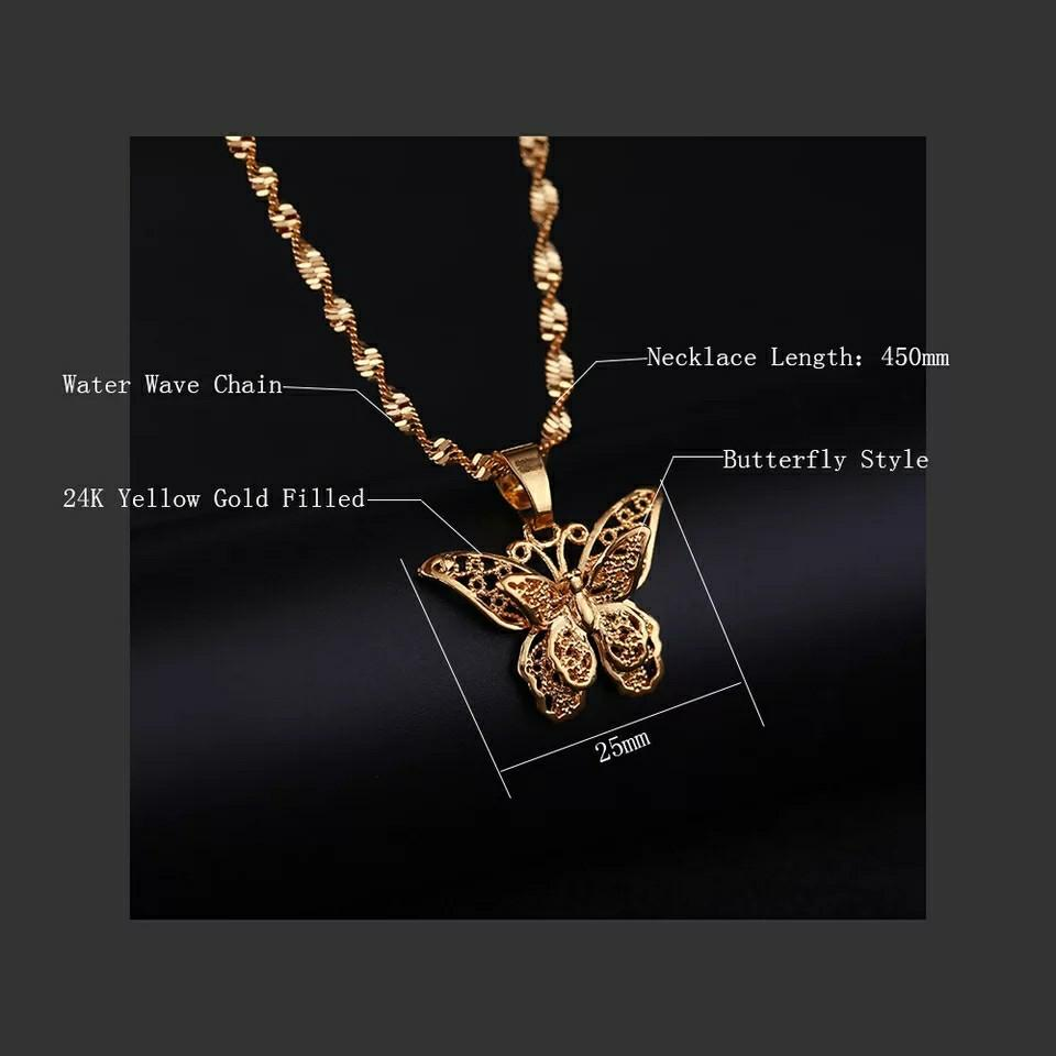 Butterfly Statement Necklaces Pendants Woman Chokers Collar Water Wave Chain 24K Yellow Gold Filled Chunky Jewelry
