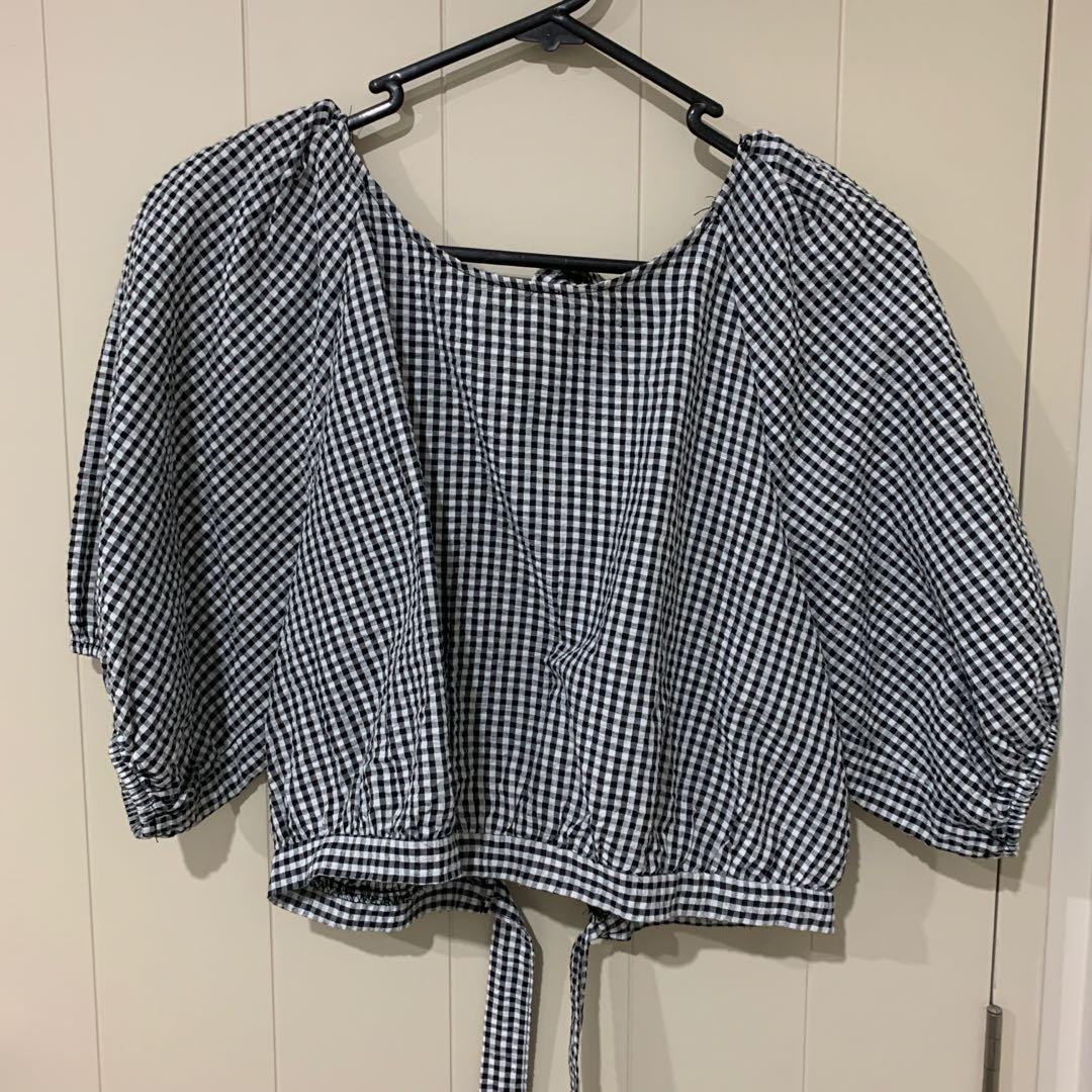 Glassons gingham tie back top