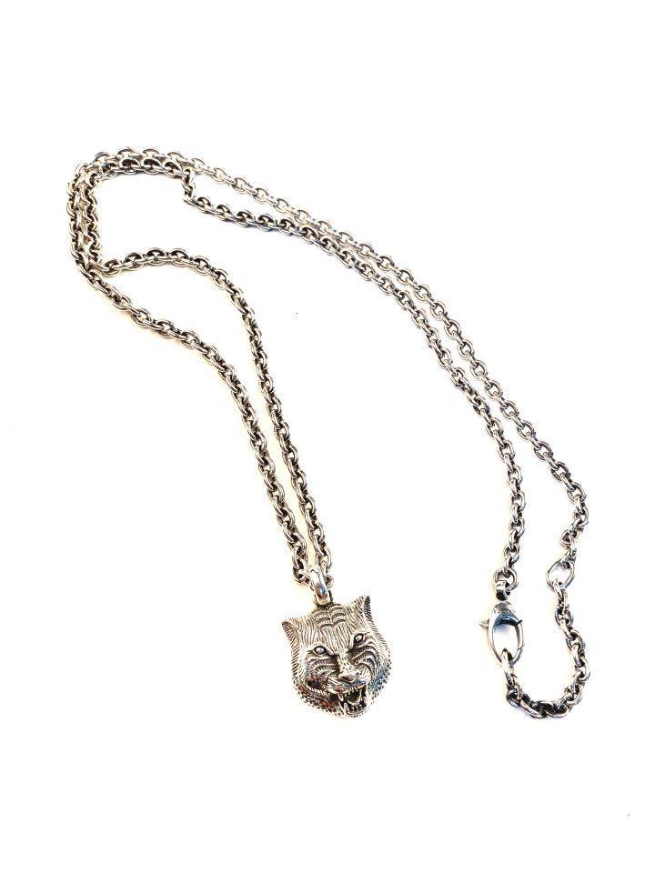 gucci necklace feline head 925 silver