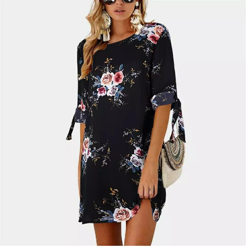 Hot Style Women Fashion Chiffon Short Sleeve Floral Print Formal Party Evening Pencil Mini Slim Dress