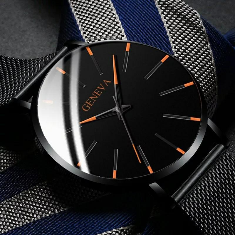Men's Fashion Ultra Thin Watches Simple Men Business Stainless Steel Mesh Belt Quartz Watch Masculino