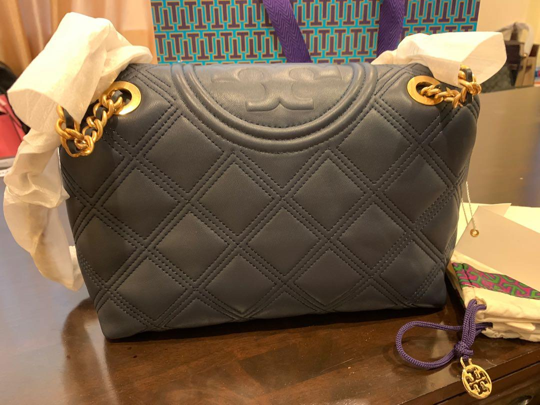 Ready Stock Authentic Fleming soft box in navy colours sling bag crossbody bag handbag navy colour