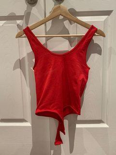 Red bodysuit with buttons