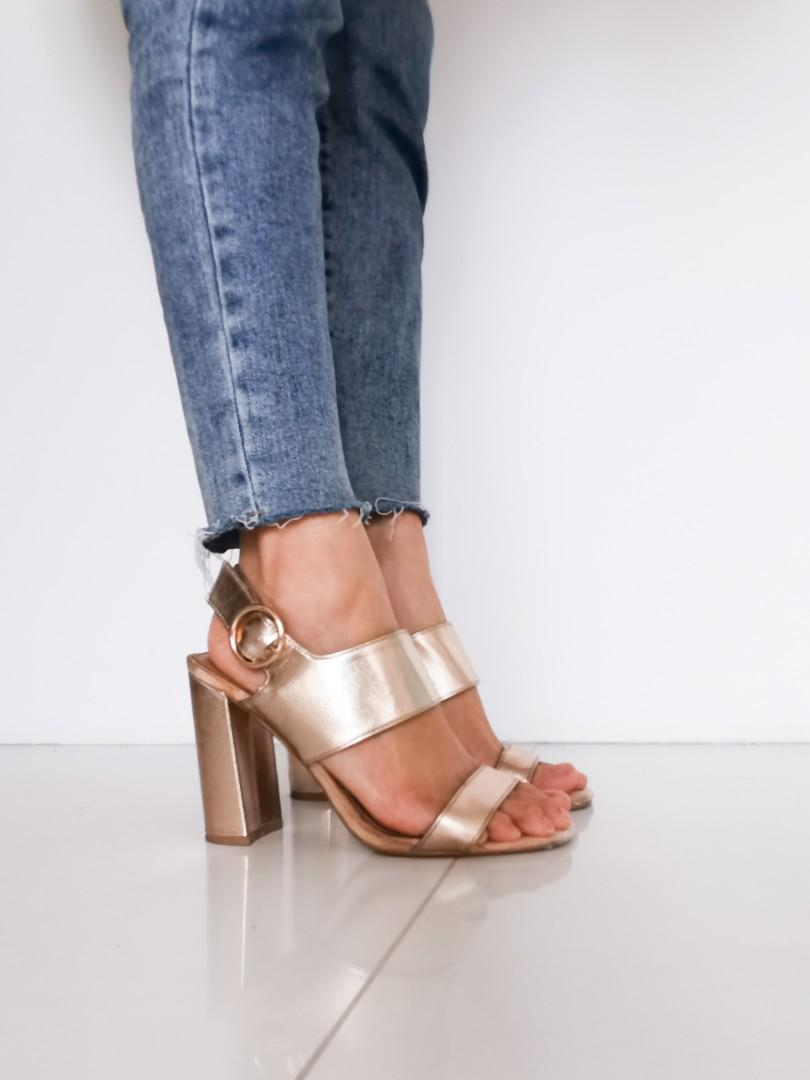 Topshop Rose Gold Block Heels Women S Fashion Shoes Heels On Carousell