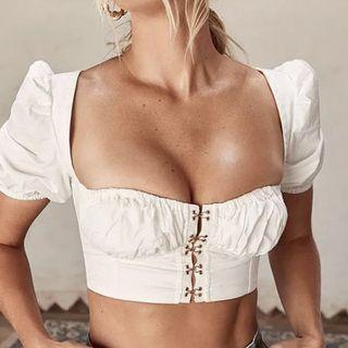 White front clasp eyelet top