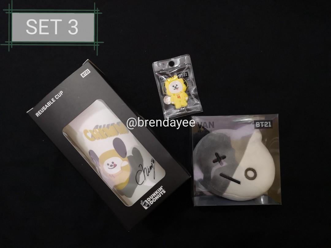 [WTS] BTS JIMIN official CHIMMY Reusable Cup, CHIMMY Magnet, VAN Face Keyring SET
