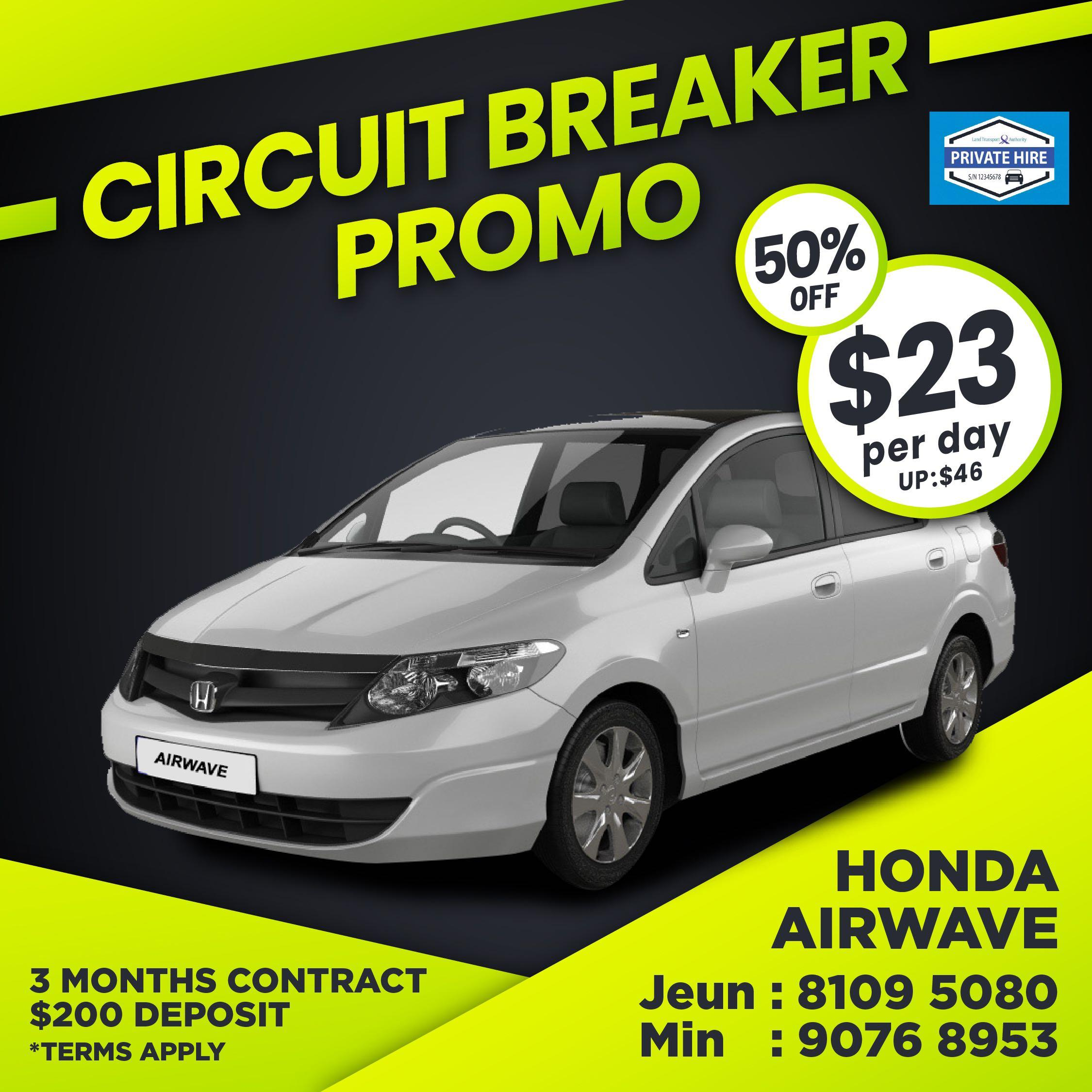 50% OFF - Honda Airwave                                                    ( Grab / PHV Car Rental )