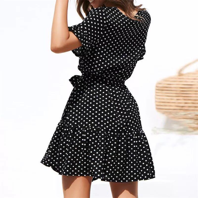 ✨Black & white polka dot pattern button up summer dress