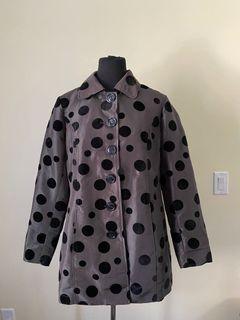 Black trench coat with velvet dots size 8