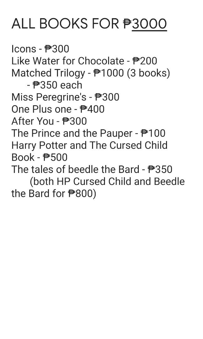 Books for Sale! (Matched Trilogy, Icons, Like Water for Chocolate, One plus One, After You,  The Prince and the Pauper)