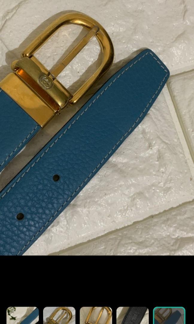 Branded Belt Gucci Authentic Buckle, Sabuk Gantian Hermes Mirror (kulit Asli) 90×3,25 cm. Riversible (bisa biru n hitam) kondisi 90% Mulus. Lentur Lembut