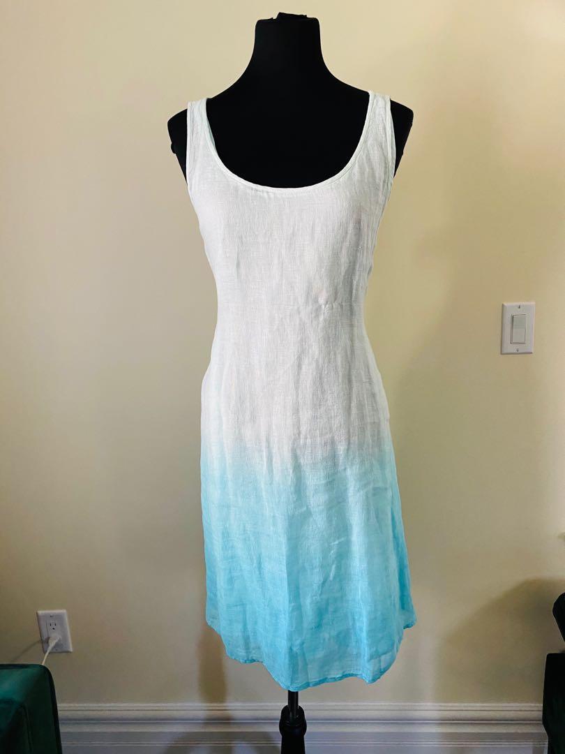 Eileen Fisher Organic Aqua blue ombré lined dress 100% linen size S/M