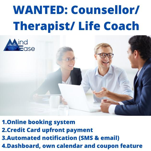 👀 Looking for Counsellor, Therapist, Life Coach come onboard