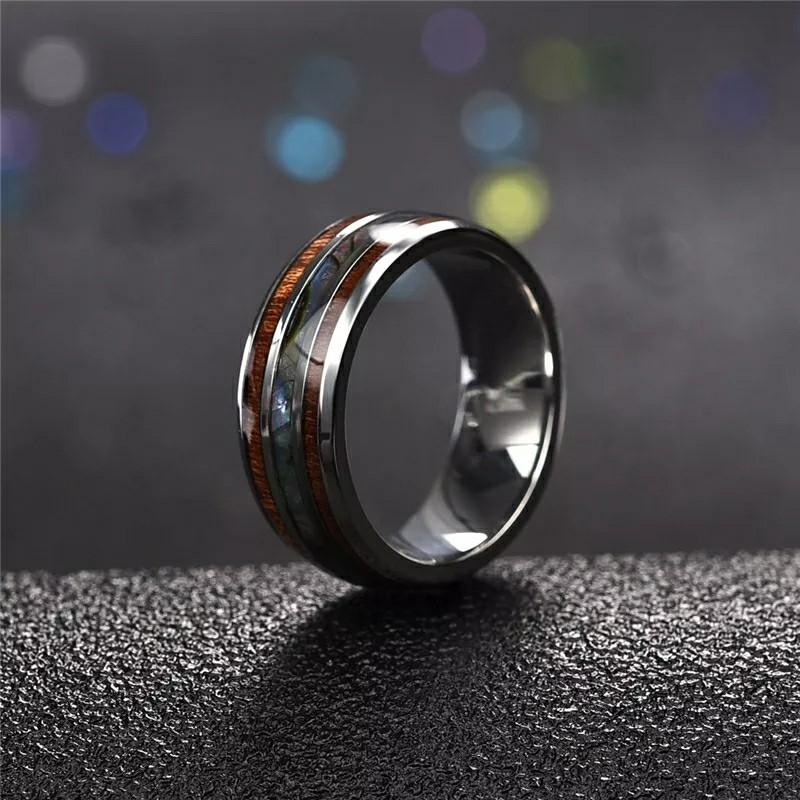 Men Rings Stainless Steel Wood Grain Fashion Women Rings Male Jewelry Gifts