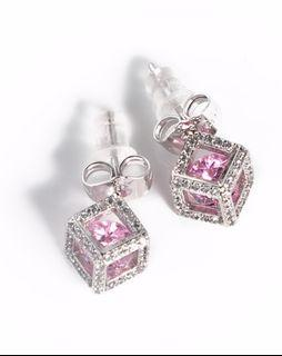 Pink Swarovski Crystal earring - allergy free