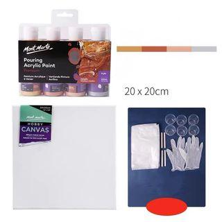 Pour Acrylic Art Set W Canvas n Gloves (PO)