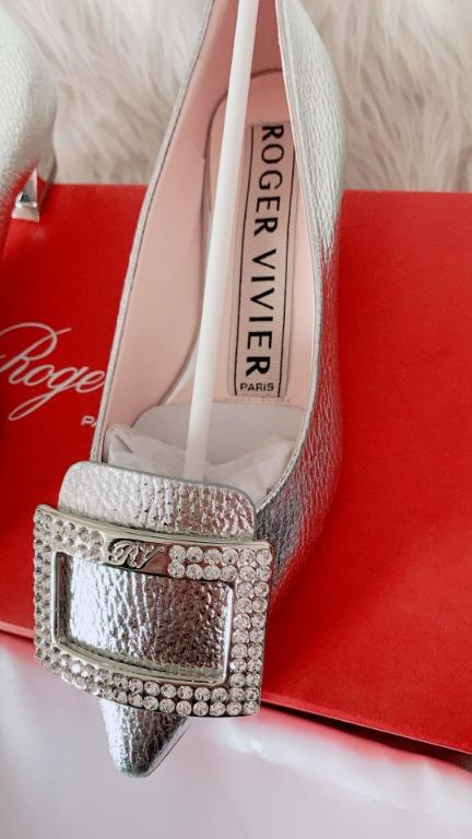 ROGER VIVIER Gommettine Buckle Ballerinas Shoes, NEW