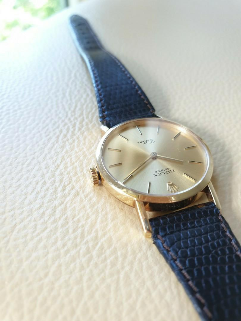 Rolex Cellini 18k Yellow Gold Brown Leather Strap -4109 Ladies                                                                                      Rolex Tudor Cartier Omega Iwc AP Chopard Tag Heuer