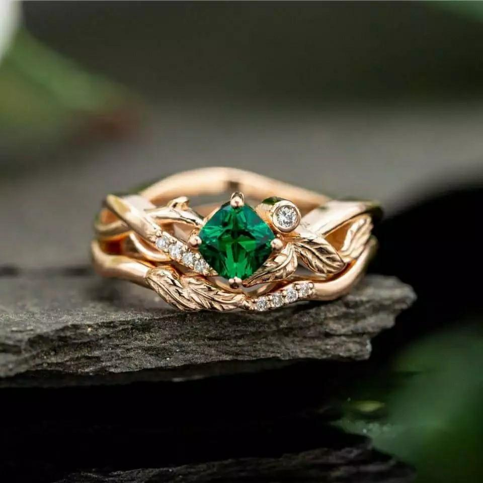 Romantic Irregular Plant Rings With Gepmetric Green Cubic Zircon Stone Fresh Leaves Band Design Engagement Rings Hot