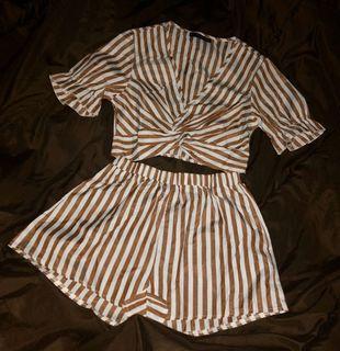 Zaful Striped Set