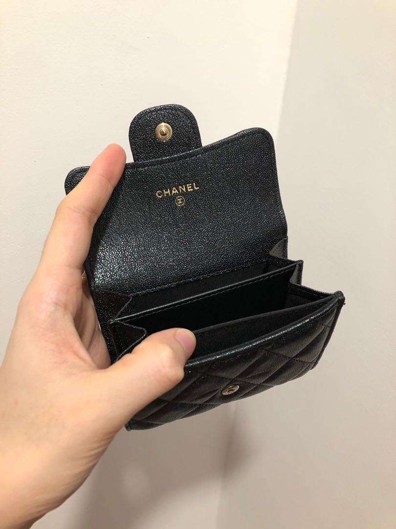 27 series 2019 iridescent black caviar with MONALISA backpocket Chanel XL cardholder/ coin purse GHW FULL set with Sg receipt