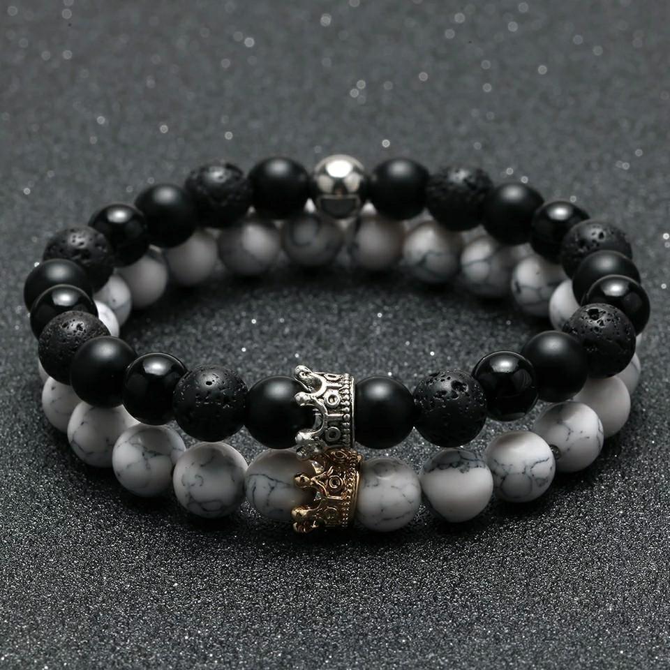 2pcs Charm paired Bracelet for Men gold Crown Women's Bracelets Natural Stone Beads Wristband Boho Couple Bracelet Gifts Friends