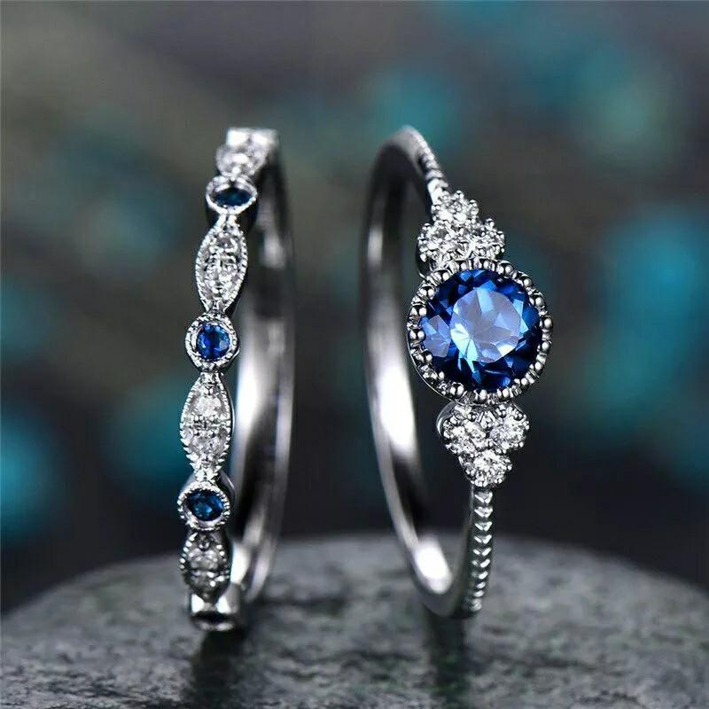 2Pcs/Set Rings New Luxury Green Blue Stone Crystal Rings For Women Sliver Color Wedding Engagement Fashion Jewelry