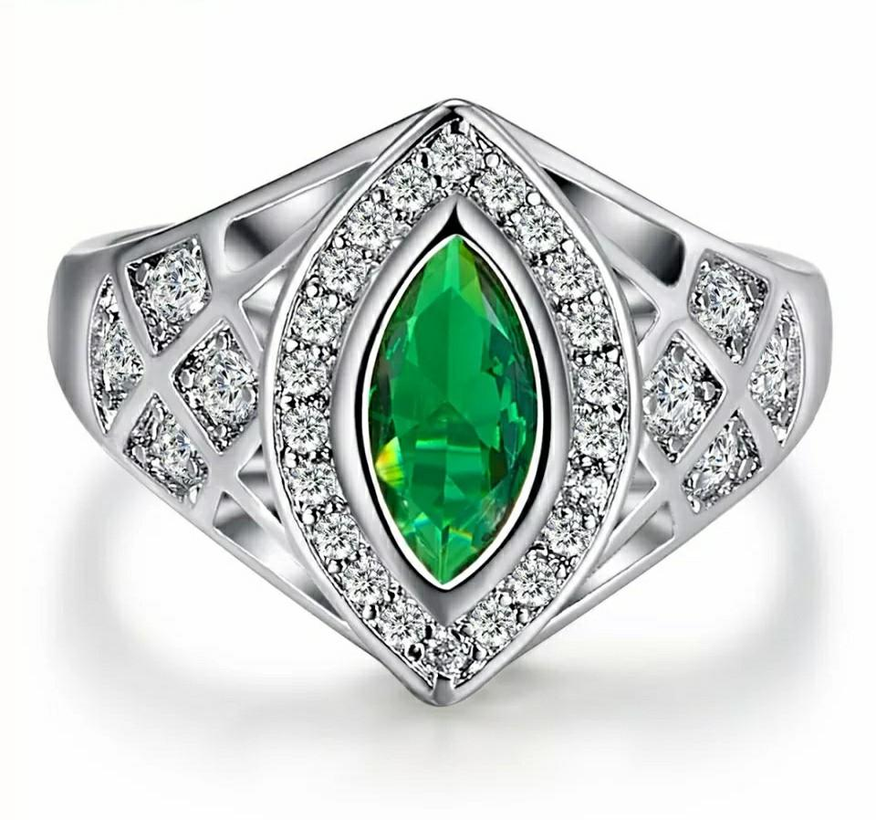 Art Deco Marquise Cut Party Created Tourmaline & White CZ White Gold Color Ring Wedding Gift