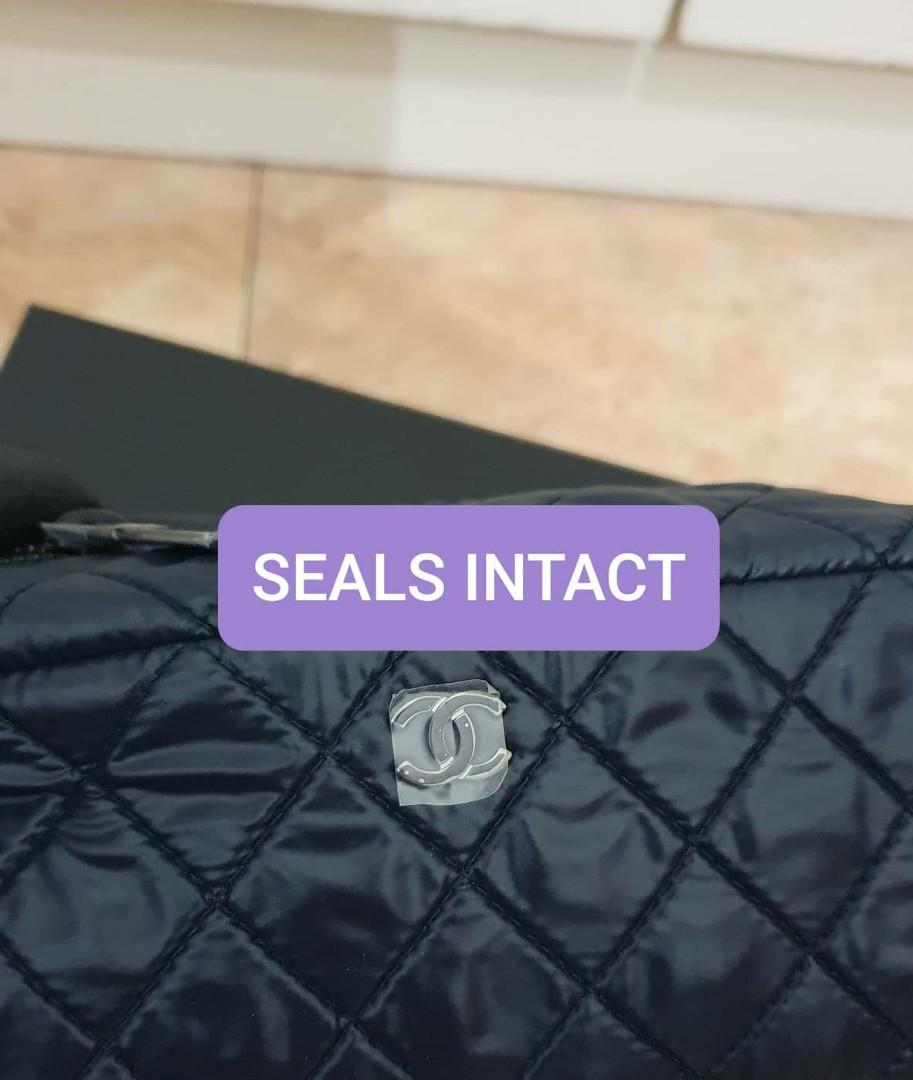 AUTHENTIC CHANEL NYLON CANVAS QUILTED VANITY POUCH BAG - CC LOGO DESIGN - WITH EXTRA ADD HOOKS & CHAIN FOR CROSSBODY SLING - HOLOGRAM STICKER INTACT- COMES WITH AUTHENTICITY CARD, DUSTBAG , CHANEL BOX, PRODUCT ID TAG CARD (FULL SET)