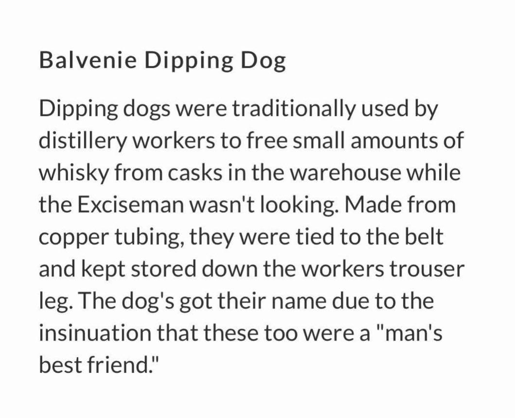 Balvenie Dipping Dog. 52ml malt whisky in a Copper Tubing. Stainless Steel inside. A collector's item. AUTHENTIC